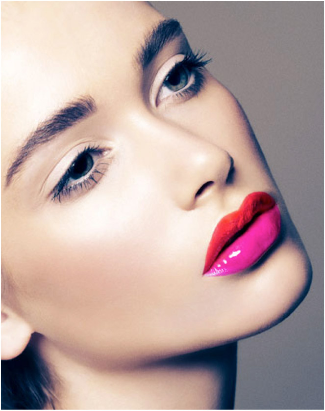 The red/pink 'Ombre' lip effect.