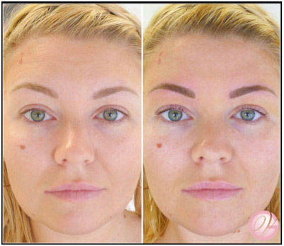 My client Before & After her LVL Lash Enhancement and Permanent Make-up for Eyebrows treatment